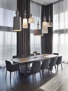 pendants grouped over a dining table
