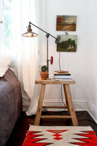 A stool used as a bedside table