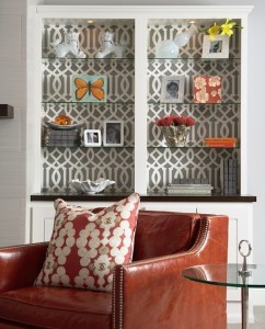 wallpaper in a bookshelf is a simply and highly effective way  to change up a piece