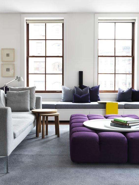 Use on smaller pieces of furniture as a pop colour.  The purple sits really well in this contemporary space